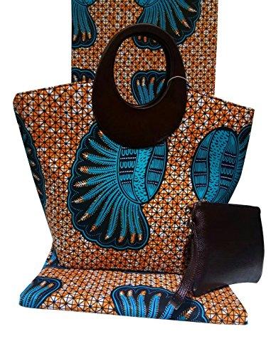 Femmes Mesdames À Pieces Africain Ensemble Imprimé Designer Main Tissu Tote Cire Sac 3 6z64Bqrw