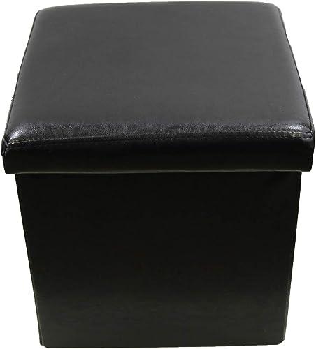 EVIDECO 9643103 Foldable Pouffe Ottoman Storage Faux Leather