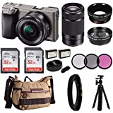 Sony Alpha a6000 Mirrorless Digital Camera 2 Lens Kit (SELP1650 + SEL55210B) & Havan Camera Case 64GB Kit
