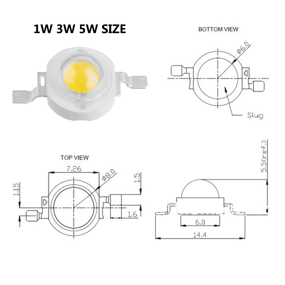 730nm // Input 1200mA // DC 1.8V-2.0V // 5 Watt SMD COB Emitter Diode Components 5 W Bead for DIY Growing Lamps Chanzon 5 pcs High Power Led Chip 5W Far Red Plant Grow Light