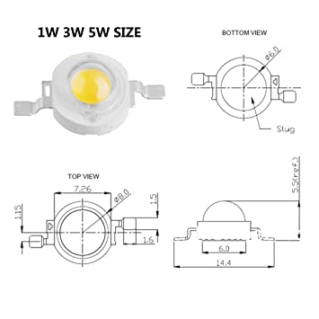 Chanzon 10 pcs High Power Led Chip 5W White (6000K-6500K/600mA-700mA/DC 6V-7V/5 Watt) Super Bright Intensity SMD COB Light Emitter Components Diode 5 W Bulb ...
