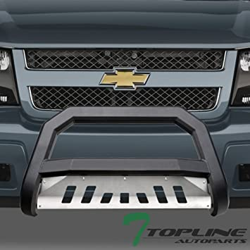 Stehlen 714937183285 Advance Series Bull Bar Matte Black//Brush Aluminum Skid Plate For 02-09 Chevy Trailblazer 02-29 GMC Envoy