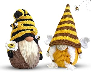 Bumble Bee Gnome Decor, 2 Pack Handmade Bumble Plush Faceless Doll Ornaments World Bee Day Scandinavian Swedish Spring Decoration Home Farmhouse Kitchen Decor (Style B)