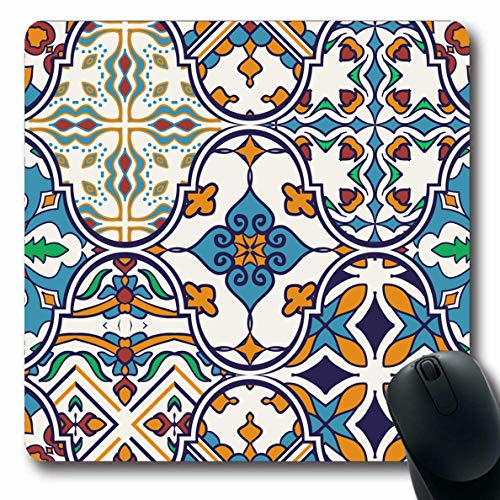 LifeCO Mouse Pad Azulejo Blue Mosaic Patchwork Pattern Abstract Floor Portuguese Spanish Arabesque Ceramic Design Oblong Shape 7.9 x 9.5 Inches Mousepad for Notebook Computer Mat Non-Slip - Portuguese Floor