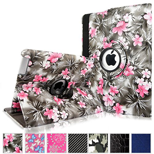 Cellularvilla 360 Degree Rotating Black Pink Flower Pu Leather Flip Folio Stand Case Cover for iPad with Retina Display (iPad 4th Generation), the new iPad 3 / iPad 2 (Automatic Wake/Sleep Feature) (Flowers Cover Pink)