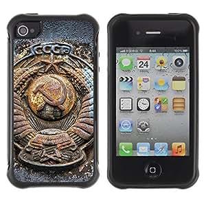 Hybrid Anti-Shock Defend Case for Apple iPhone 4 4S / SSSR CCCP Russia WANGJING JINDA
