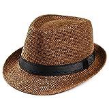 Unisex Trilby Gangster Cap Beach Sun Straw Hat Band Sunhat Coffee