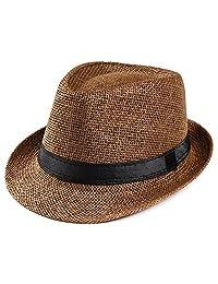 Ptmen Unisex Trilby Gangster Cap Beach Sun Straw Hat Band Sunhat