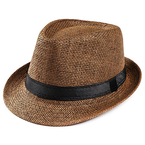 hositor Sun Hat, Unisex Trilby Gangster Cap Beach Sun Straw Hat Band Sunhat Coffee ()