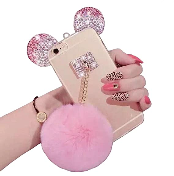 online store 9b730 3fe63 iPhone 6 plus/6s Plus case,Jesiya Cute 3D Diamond Bling Ears/Bear  Ears/Mouse Ears with Mobile Phone Hang Rope Metal Buckle Pendant Soft TPU  Clear ...