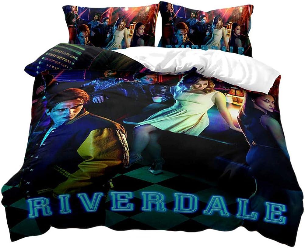 Yesgirl Riverdale Ropa De Cama Southside Serpents Conjunto De Tres Piezas Juego De Cama Con Cremallera 3D Funda N/órdica Con Funda De Almohada Unisex