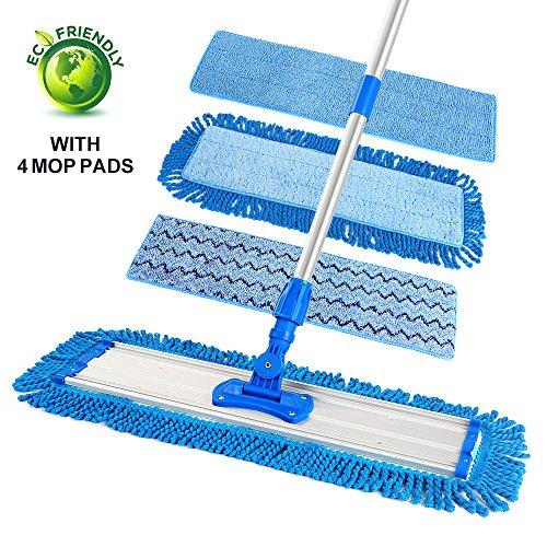 "20.5"" Dust Mop, Microfiber Floor Mop Flat Mop with 4 Mop Pads / Refills & 6 ft Telescopic Aluminum Pole Handle for Hardwood Wood Tile Floor Dry & Wet Mopping"