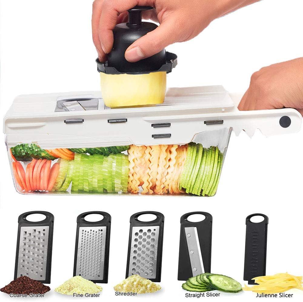 LHS Mandoline Slicing Tool, Mandoline Slicer vegetable with Container, 5 in 1 Handheld Veggie Slicer Dicer Cutter Shredder Grater and Julienne - Kitchen Manual Food Slicer for Fruits and Vegetables