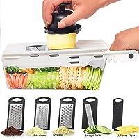 LHS Mandoline Slicing Tool, Mandoline Slicer vegetable with Container, 5 in 1 Handheld Veggie Slicer Cutter Shredder…
