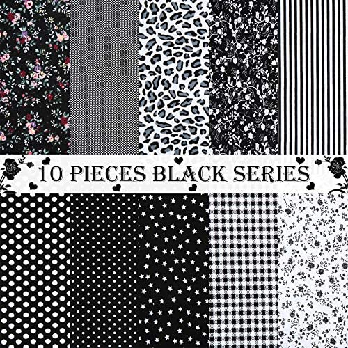10 Pieces Fat Quarters Cotton Fabric 19.8 x 19.8 Inch Black Series Floral Cotton Fabric Craft Fabric Bundle Squares Printed Sewing Quilting Patchwork Pre-Cut Fabric for DIY Scrapbooking Artcraft