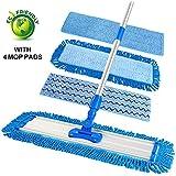 "ELECOOL 20.5"" Microfiber Floor Mop Flat Mop with 4 Mop Pads/Refills & 6 ft Telescopic Aluminum Pole Handle for Hardwood Wood Tile Floor Dry & Wet Mopping"
