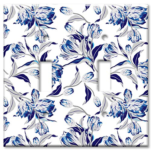 Art Plates 2 Gang Toggle Wall Plate - Blue and Gray Flower Toss