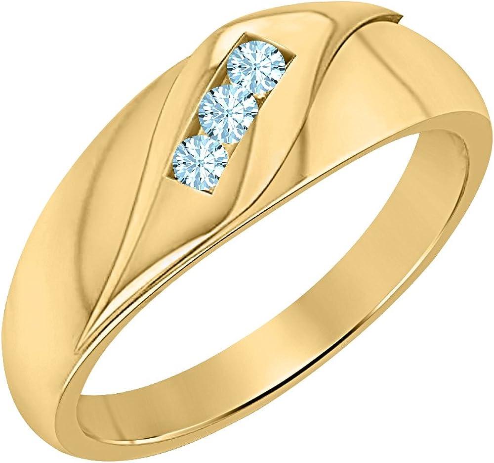 SVC-JEWELS Mens Wedding Three Stone Anniversary Band Ring 1.65ctw Round Cut Aquamarine 14K Yellow Gold Plated