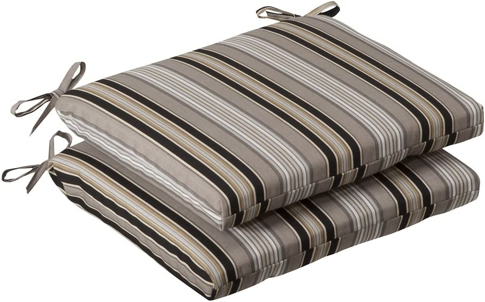 Pillow Perfect Outdoor/Indoor Getaway Stripe Onyx Square Corner Seat Cushions, 18.5