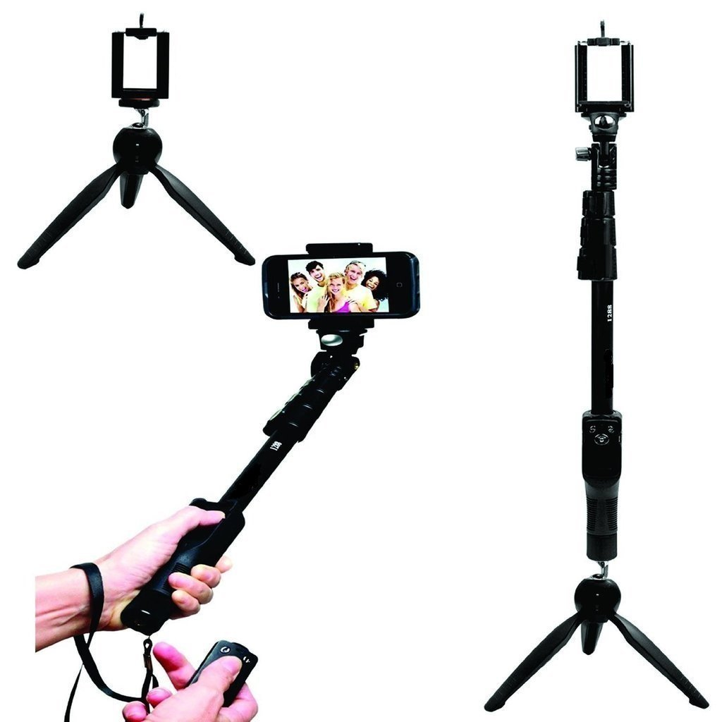 UNIGEAR YT 1288 2 In 1 Adjustable Selfie Stick Monopod with Bluetooth Remote Shutter and Mini Tripod Black