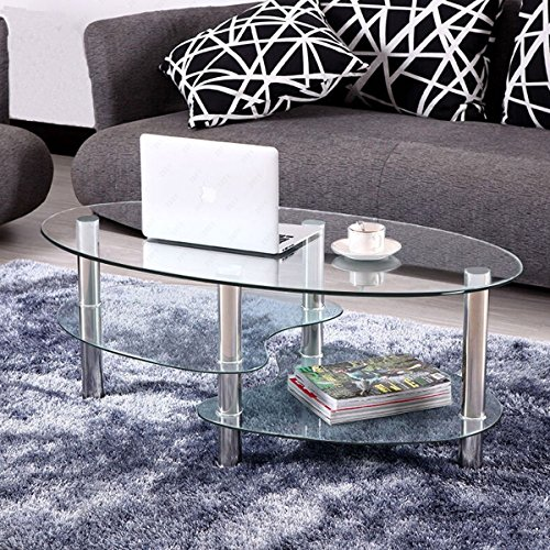 KIZE Clear Glass Oval Side Coffee Table Shelf Chrome Base Living Room Furniture
