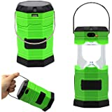 LYSHOP Ultra Bright Solar Rechargeable Collapsible LED Camping Lantern Light 180 Lumen Portable Water Resistant Outdoor Survival Lamp for Hiking Fishing Emergency Outages - Green