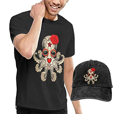 9d28a33dd anxiety Mens's Dead Sugar Skull Baby Octopus Casual Crew Neck Short Sleeve  T-Shirt and Peaked Cowboy Hat Baseball Cap   Amazon.com