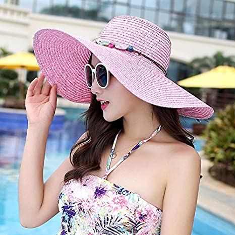 Ktfactory Mujeres del verano sombreros para el sol para de ala ancha puede plegarse  playa sombrero de paja 10c81283d63
