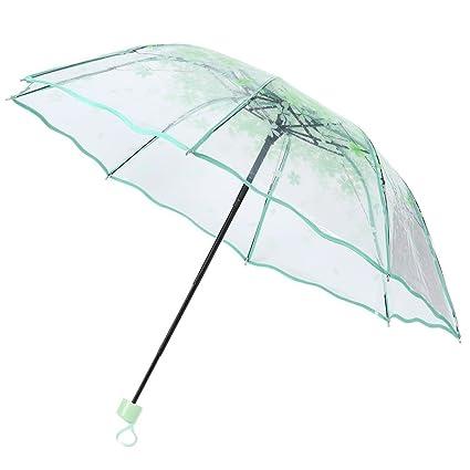 Hongyuangl Paraguas Plegable Paraguas Lluvia Flores Cerezo Transparente Verde 24 * 5 * 96 * 54CM