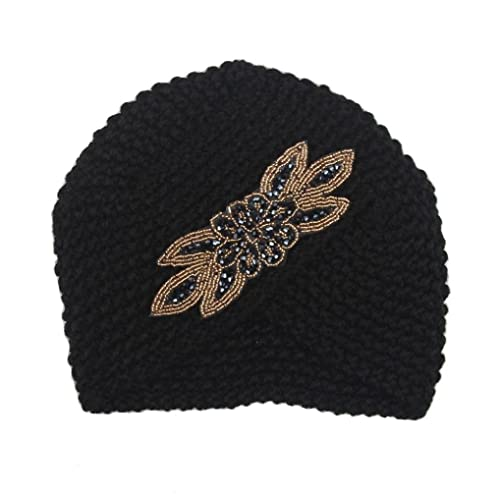 Lenfesh Sombrero de tejer caliente de las mujeres trenzado capuchón de tocado de turbante para el invierno