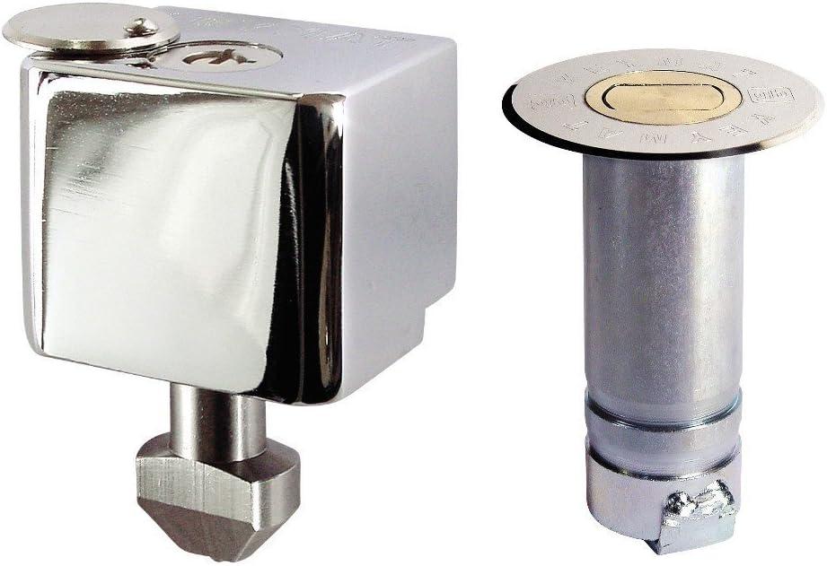 Dispositivo cerradura seguridad K-10 para puertas metálicas enrollables. Llave tubular.