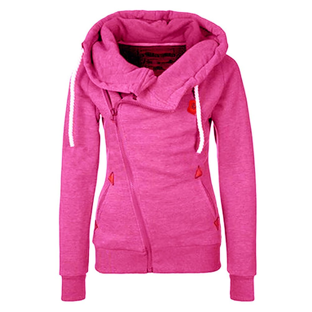 Jeeluory Women's Fashion Side Zipper Patchwork Warm Hooded Sweatshirt Jacket Rose M
