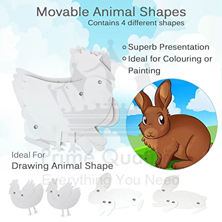 4 piece movable animal shapes creative colour and decorate your own