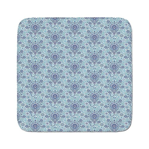 Cozy Seat Protector Pads Cushion Area Rug,Light Blue,Intricate Paisley Pattern Traditional Persian Teardrop Floral Motif Decorative,Indigo Light Blue White,Easy to Use on Any Surface - Indigo Traditional Rug
