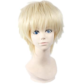 COSPLAZA Cosplay Wigs Halloween Haikyuu!! tsukishima kei Short Blonde Party Anime Hair