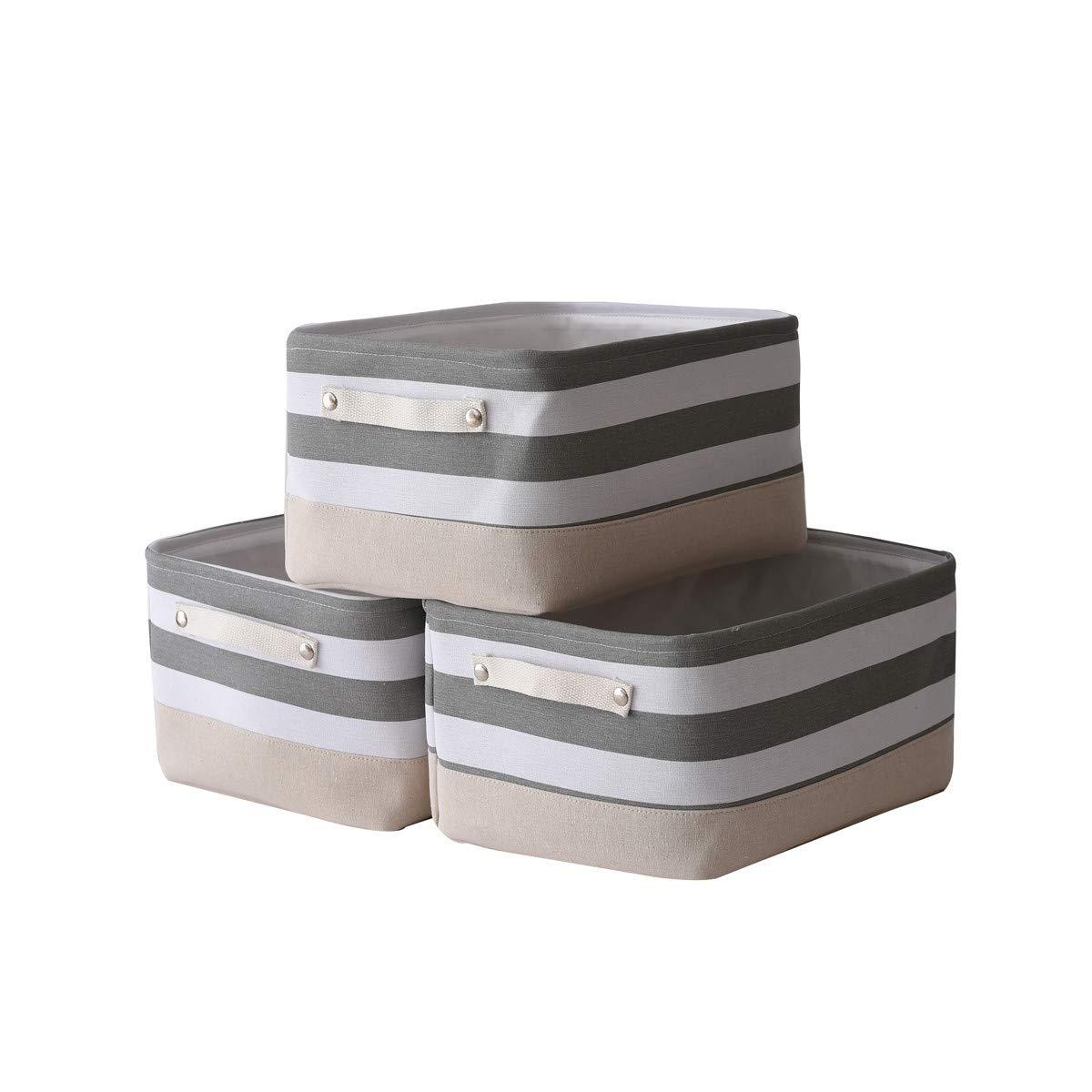 Jtirey Baskets Storage Baskets Organizer [3-Pack] Fabric storage bin Shelf Baskets for Storage Baskets for Organizing, Basket for Gifts Empty Collapsible Organizer Storage Baskets for Home(15.7L×11.8W×8.3H)