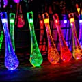 Battery Operated String Lights - RECESKY 20 LED 7.9ft Waterproof Fairy Water Drop Decor with 8 Mode Lighting for Outdoor Indoor Garden Patio Yard Lawn Home House Party Bedroom Christmas Decorations