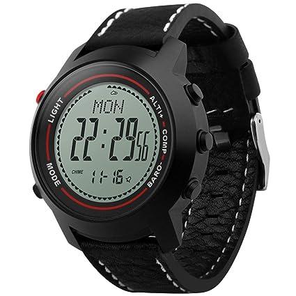 WLH Relojes Inteligentes para Exteriores Podómetro Barómetro Impermeable ,Black/White