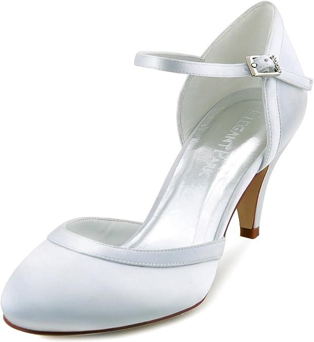 TALLA 40 EU. ElegantPark HC1509 Zapatos de tacón Zapato con Cierre Raso Cerrado Zapatos de Novia Mujer