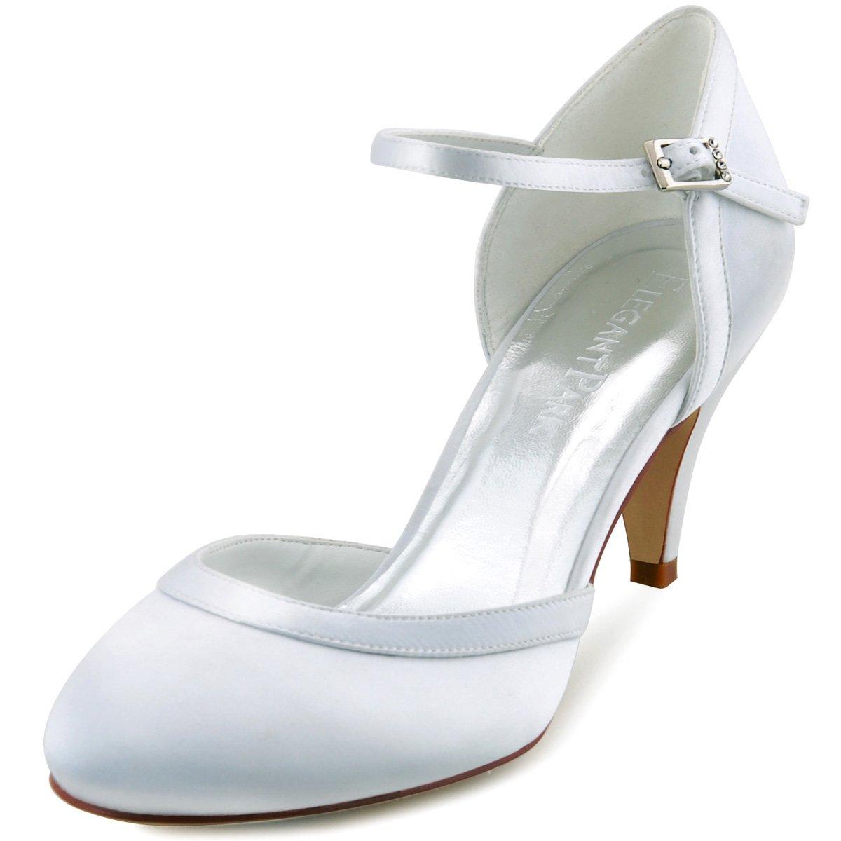 ElegantPark HC1509 Zapatos de tacón Zapato con Cierre Raso Cerrado Zapatos de Novia Mujer