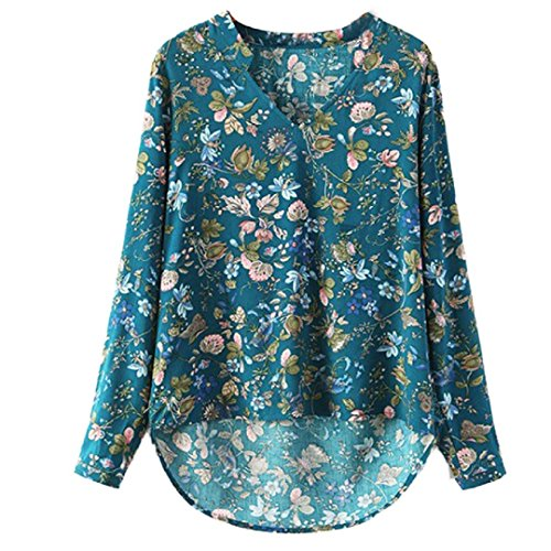 IUNEED Fashion Women V-NECK Blouse Long-sleeve Top Shirt Casual (S, A)