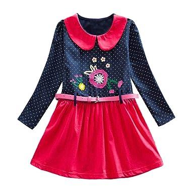 ASHOP Vestidos niña / Vestido de Fiesta de Manga Larga con ...