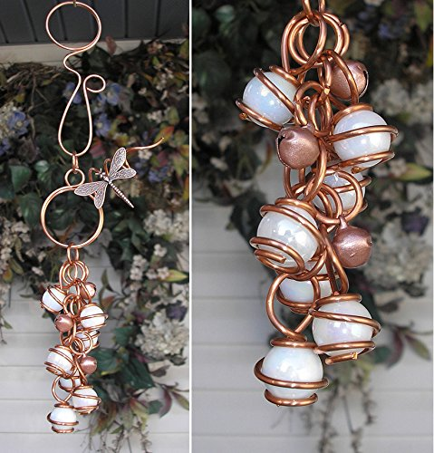 Dragonfly Wind Chimes Glass Copper Garden Art Lawn Ornament Windchime White