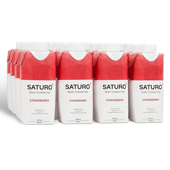 Saturo Fresa Bebida Sustituto Alimenticio | Comida Saciante, Sana y Vegana Lista para Tomar,