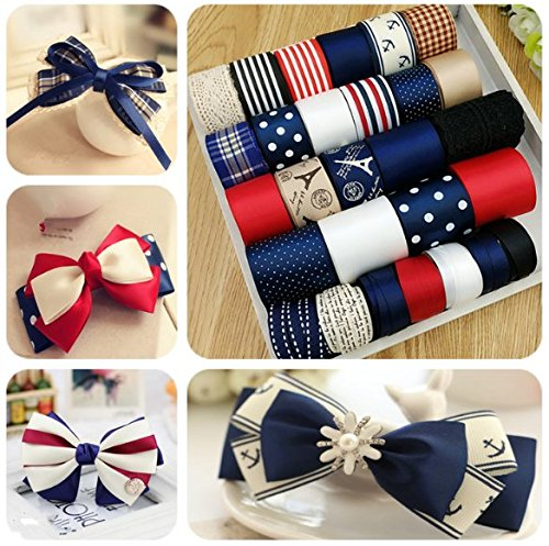 PinkSheep Diy Hair Bow Making Kit- 28yd Ribbon baby headband Glue Gun Sewing Scissors At Least 35 Unique And Fashion Hair Bows(navy)
