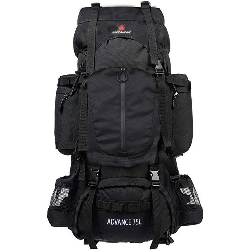 80L大容量ヘビーデューティハイキングスポーツバックパックプロ屋外キャンプハイキングバッグネックレスバックパック  ブラック B07RKQGWKL