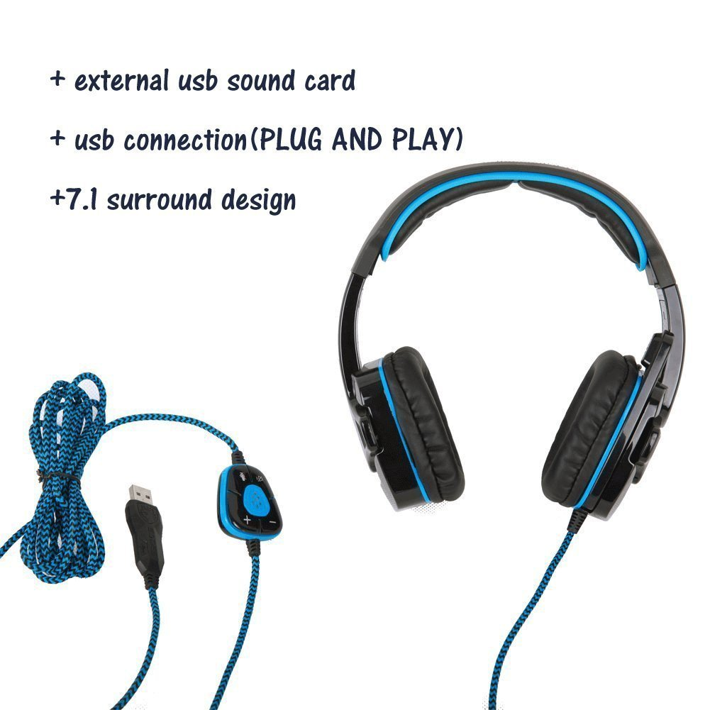 SADES SA901 7.1 channel Surround Sound Pro USB PC Gaming Headset With Noise Cancelling Microphone and LED Lighting For PC Computer Gaming