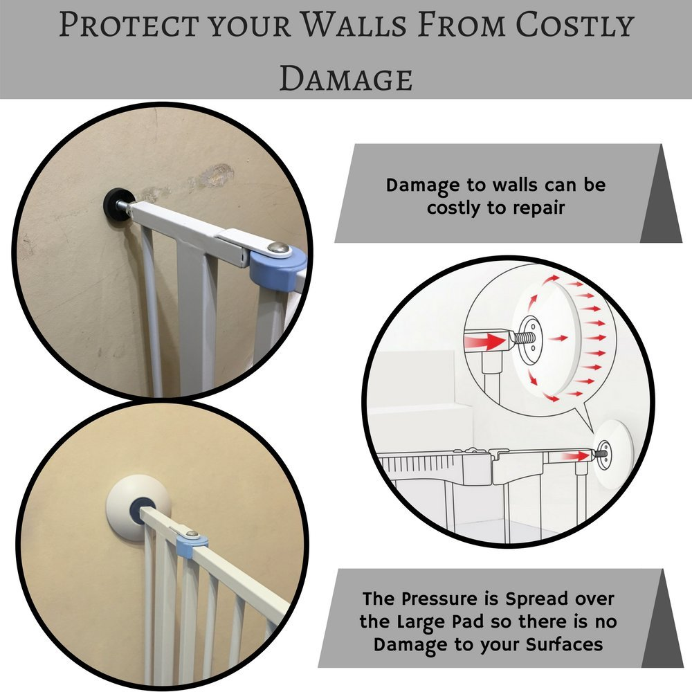Top and Bottom Wall Protectors for Child and Pet Safety 2 Small Wall Guard Pads for Baby Gates 4 Pack Pressure Gate Wall Saver High End Set of 2 Large