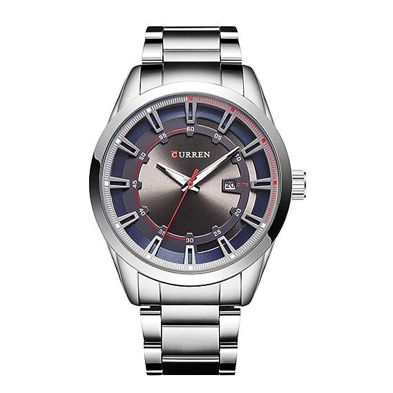 Curren Lujo Brand Strap Cuarzo para hombre Moda Casual Vestido Reloj de pulsera Fecha Reloj analógico Azul: Amazon.es: Relojes