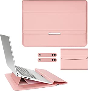 PENGRUISI 15-15.6inch Laptop Sleeve Case Laptop Three in one Bracket Inner Bushing with Stand Function compatible15-15.6inch with All laptops and Tablets Soft PU Leather(Pink Rose Gold)